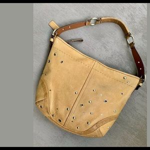 VTG Coach Cognac Leather Studded Shoulder/Hobo Bag
